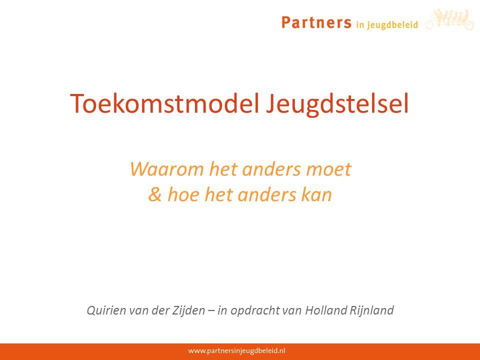 Toekomstmodel Jeugdstelsel Waarom het anders moet & hoe het anders kan Quirien van der Zijden – in opdracht van Holland Rijnland