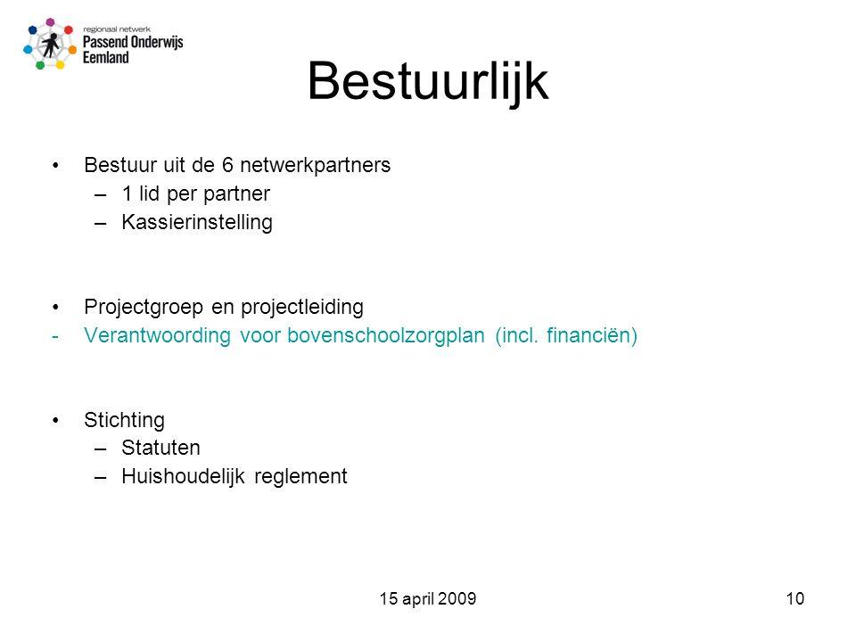 15 april 200910 Bestuurlijk Bestuur uit de 6 netwerkpartners –1 lid per partner –Kassierinstelling Projectgroep en projectleiding -Verantwoording voor bovenschoolzorgplan (incl.