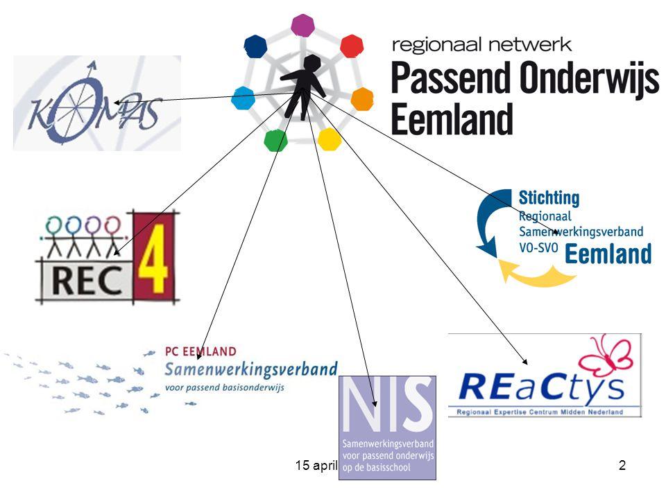15 april 200913 meer informatie www.passendonderwijseemland.nl (downloadbaar PvA)www.passendonderwijseemland.nl www.passendonderwijs.nl (landelijke site)www.passendonderwijs.nl www.kompas.nu www.pceemland.nl www.niswsns.nl www.swveemland.nl www.reactys.nl www.rec4-4.nl www.integraalindiceren.info www.indiceerwijzer.nl www.provincie-utrecht.nl www.wecraad.nl