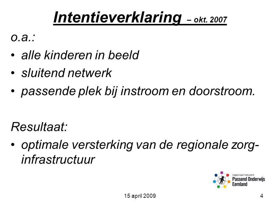 15 april 20094 Intentieverklaring – okt.