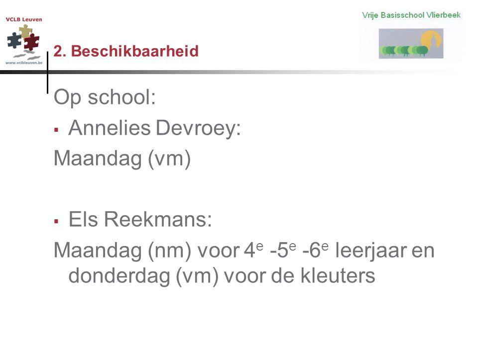 2. Beschikbaarheid Op school:  Annelies Devroey: Maandag (vm)  Els Reekmans: Maandag (nm) voor 4 e -5 e -6 e leerjaar en donderdag (vm) voor de kleu