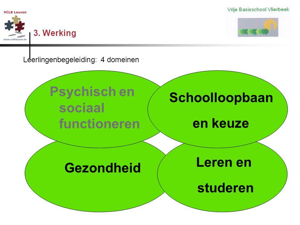 3. Werking n Gezondheid n Leren en n studeren Psychisch en sociaal functioneren n Schoolloopbaan n en keuze Leerlingenbegeleiding: 4 domeinen
