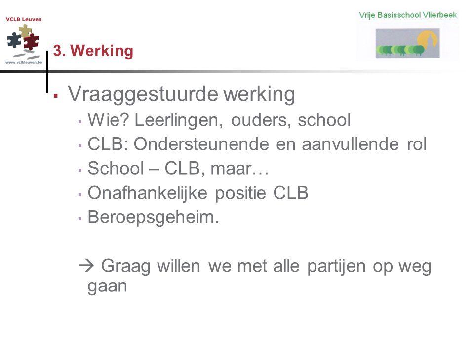 3. Werking  Vraaggestuurde werking  Wie? Leerlingen, ouders, school  CLB: Ondersteunende en aanvullende rol  School – CLB, maar…  Onafhankelijke