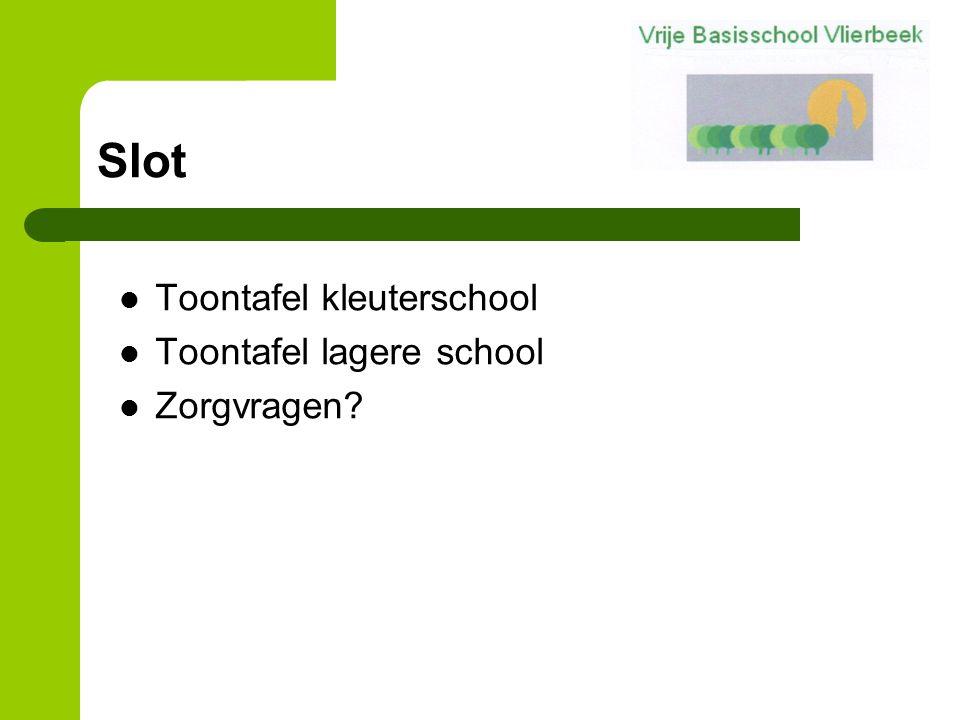 Slot Toontafel kleuterschool Toontafel lagere school Zorgvragen?