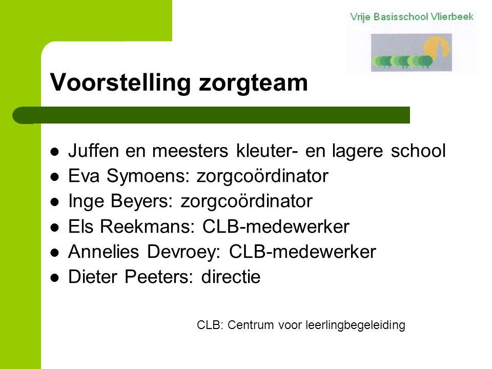Voorstelling zorgteam Juffen en meesters kleuter- en lagere school Eva Symoens: zorgcoördinator Inge Beyers: zorgcoördinator Els Reekmans: CLB-medewer