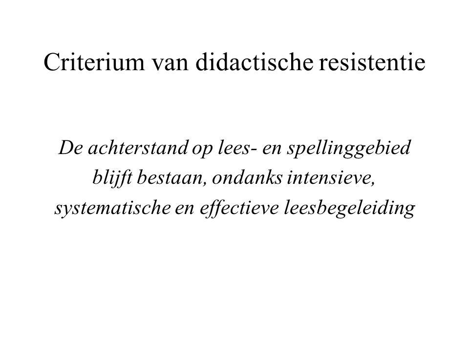 Criterium van didactische resistentie De achterstand op lees- en spellinggebied blijft bestaan, ondanks intensieve, systematische en effectieve leesbe