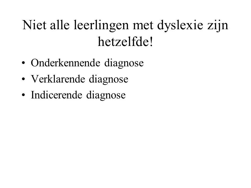 Niet alle leerlingen met dyslexie zijn hetzelfde! Onderkennende diagnose Verklarende diagnose Indicerende diagnose