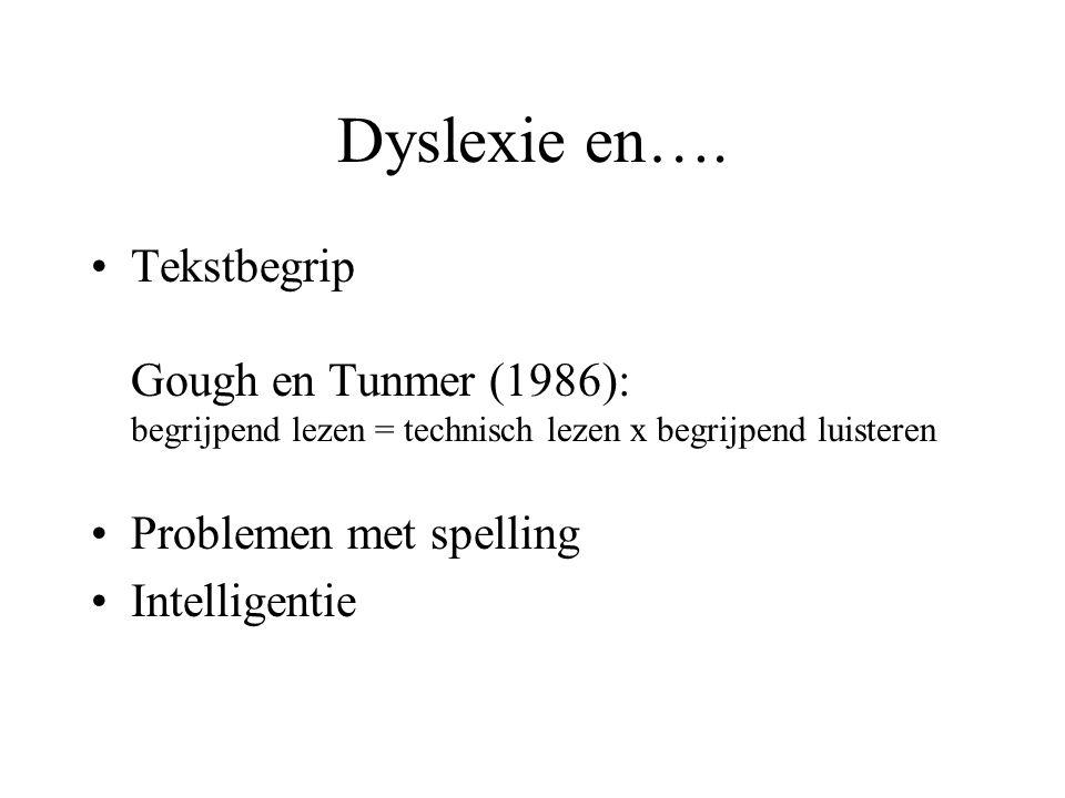 Dyslexie en…. Tekstbegrip Gough en Tunmer (1986): begrijpend lezen = technisch lezen x begrijpend luisteren Problemen met spelling Intelligentie