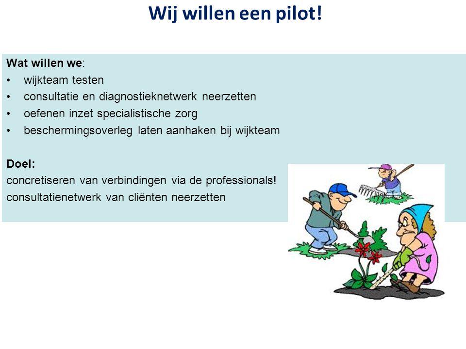 Wij willen een pilot! Wat willen we: wijkteam testen consultatie en diagnostieknetwerk neerzetten oefenen inzet specialistische zorg beschermingsoverl