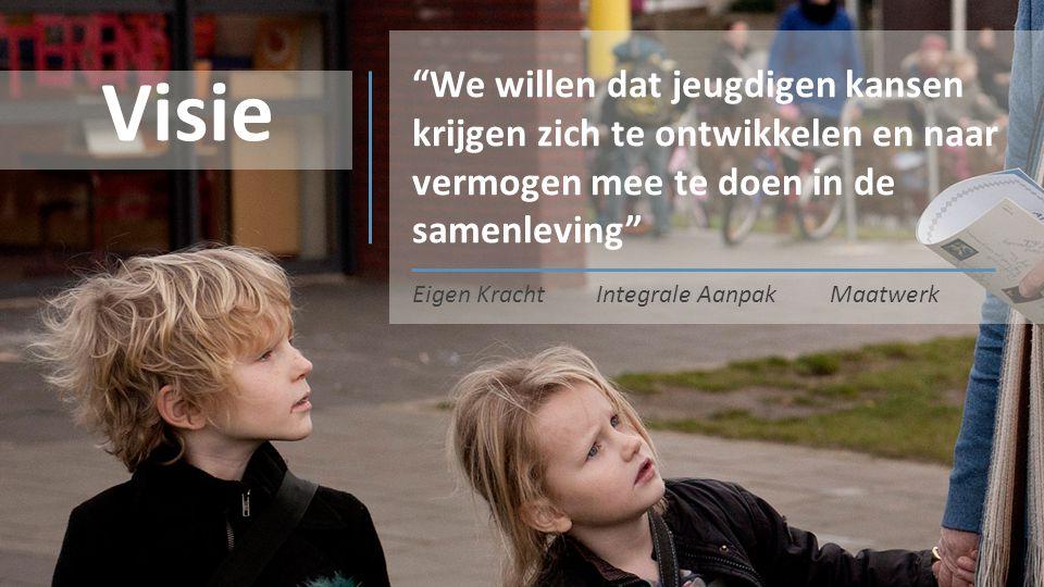 """""""We willen dat jeugdigen kansen krijgen zich te ontwikkelen en naar vermogen mee te doen in de samenleving"""" Visie Eigen KrachtIntegrale AanpakMaatwerk"""