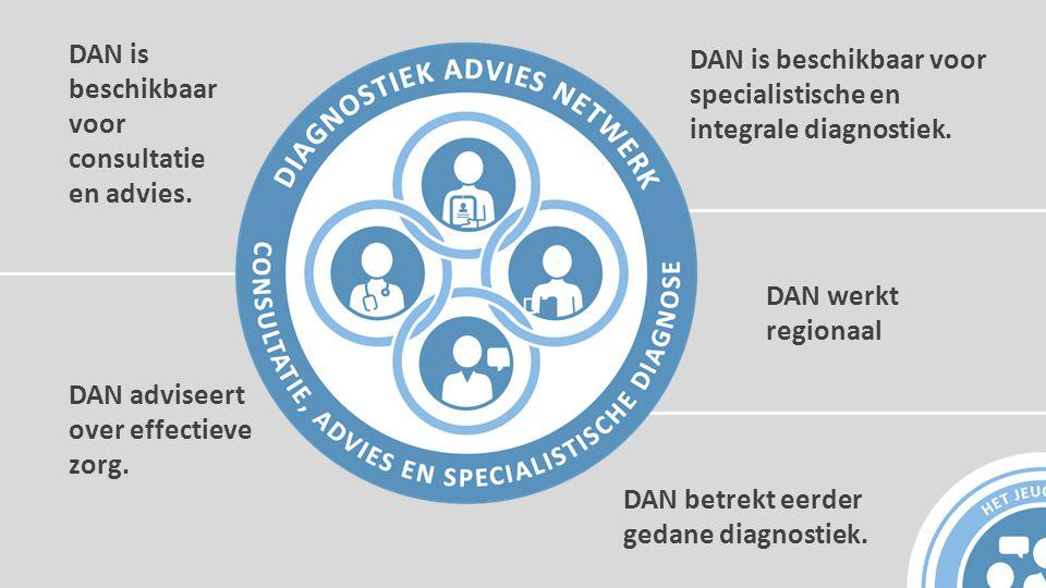 DAN is beschikbaar voor consultatie en advies. DAN is beschikbaar voor specialistische en integrale diagnostiek. DAN adviseert over effectieve zorg. D