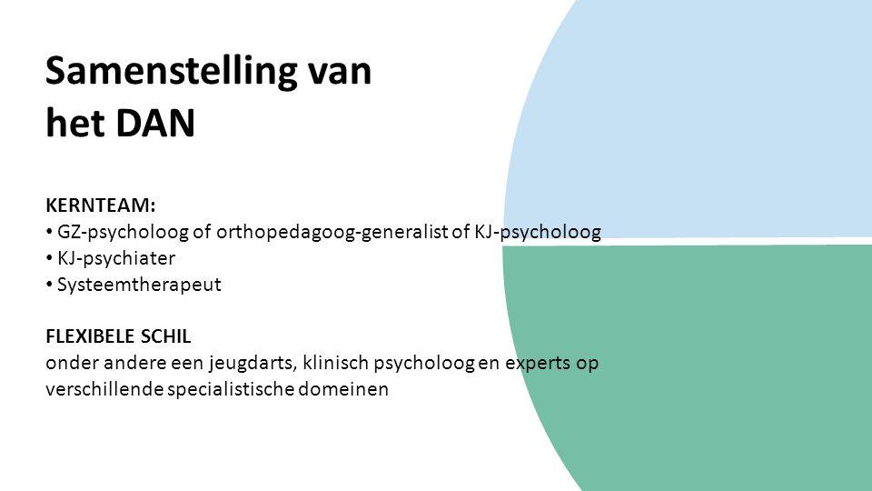 Samenstelling van het DAN KERNTEAM: GZ-psycholoog of orthopedagoog-generalist of KJ-psycholoog KJ-psychiater Systeemtherapeut FLEXIBELE SCHIL onder andere een jeugdarts, klinisch psycholoog en experts op verschillende specialistische domeinen