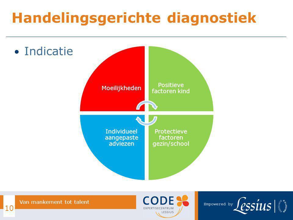 Indicatie Handelingsgerichte diagnostiek 10 Van mankement tot talent Moeilijkheden Positieve factoren kind Protectieve factoren gezin/school Individue