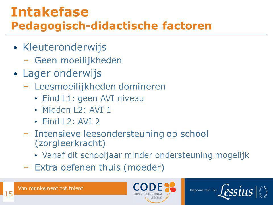 Kleuteronderwijs − Geen moeilijkheden Lager onderwijs − Leesmoeilijkheden domineren Eind L1: geen AVI niveau Midden L2: AVI 1 Eind L2: AVI 2 − Intensi