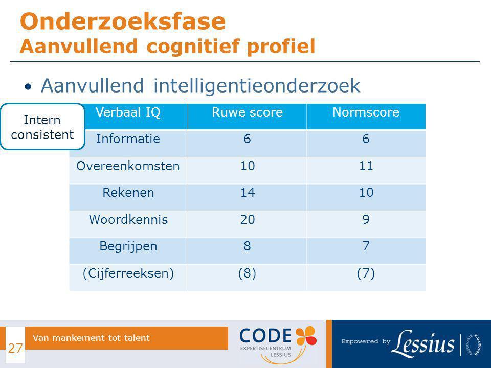 Aanvullend intelligentieonderzoek Onderzoeksfase Aanvullend cognitief profiel 27 Van mankement tot talent Verbaal IQRuwe scoreNormscore Informatie66 O
