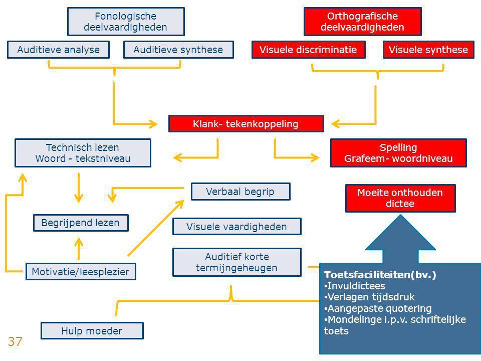 37 Fonologische deelvaardigheden Auditieve analyseAuditieve synthese Orthografische deelvaardigheden Visuele discriminatieVisuele synthese Technisch l
