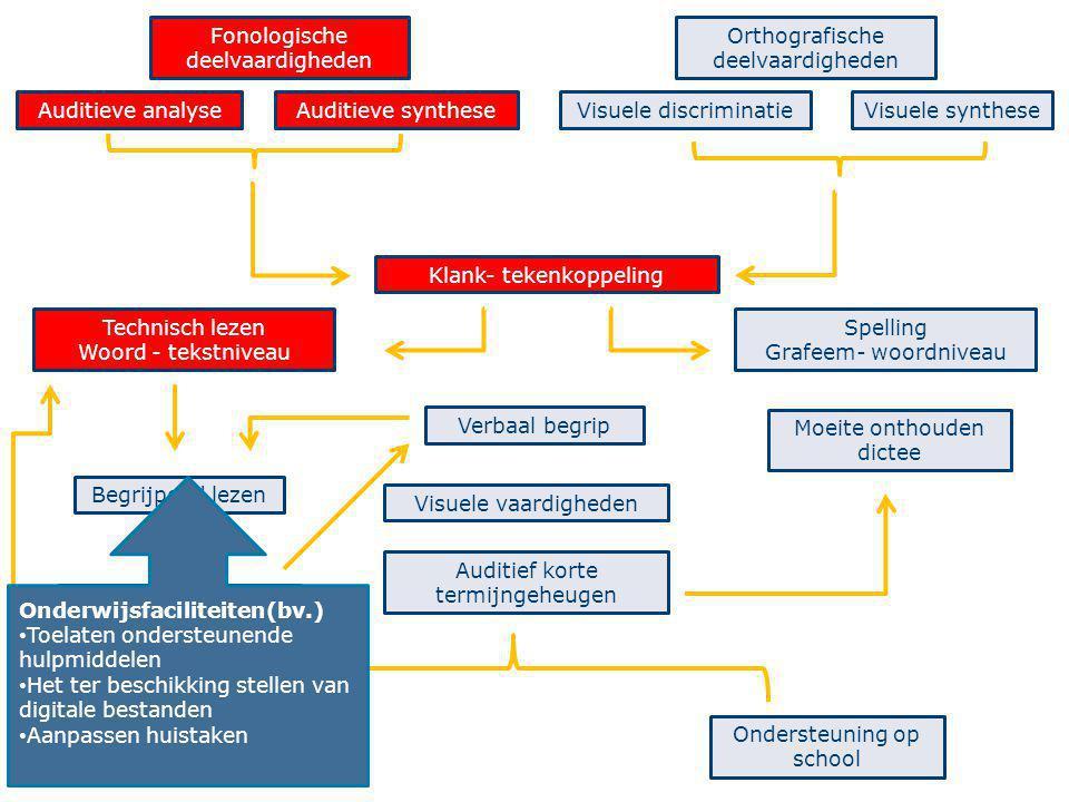 38 Fonologische deelvaardigheden Auditieve analyseAuditieve synthese Orthografische deelvaardigheden Visuele discriminatieVisuele synthese Technisch l