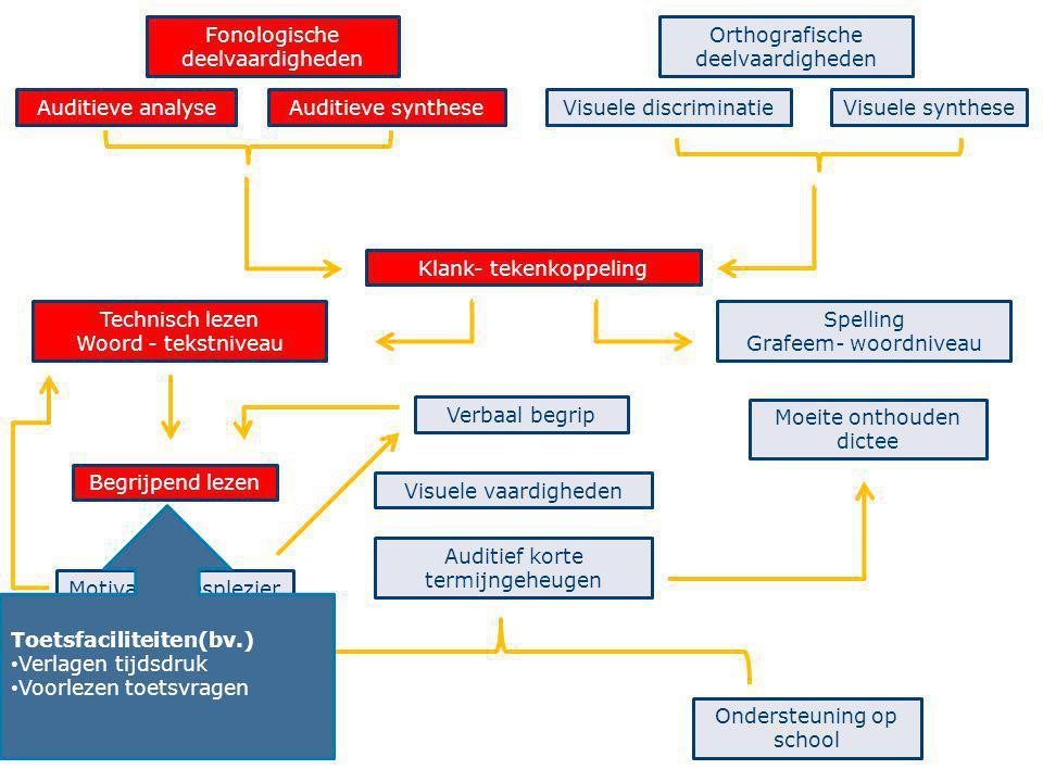 40 Fonologische deelvaardigheden Auditieve analyseAuditieve synthese Orthografische deelvaardigheden Visuele discriminatieVisuele synthese Technisch l