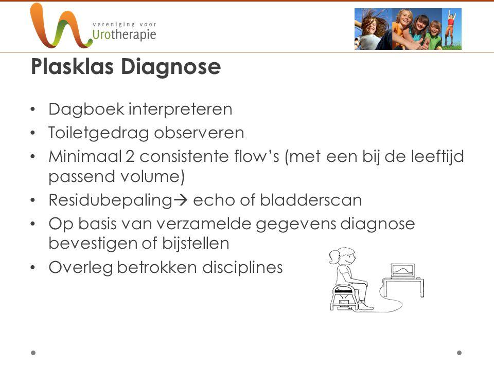 Plasklas Diagnose Dagboek interpreteren Toiletgedrag observeren Minimaal 2 consistente flow's (met een bij de leeftijd passend volume) Residubepaling