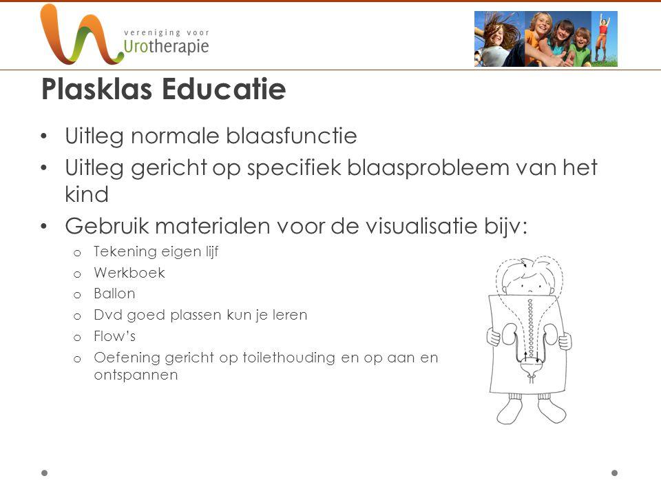 Plasklas Educatie Uitleg normale blaasfunctie Uitleg gericht op specifiek blaasprobleem van het kind Gebruik materialen voor de visualisatie bijv: o T