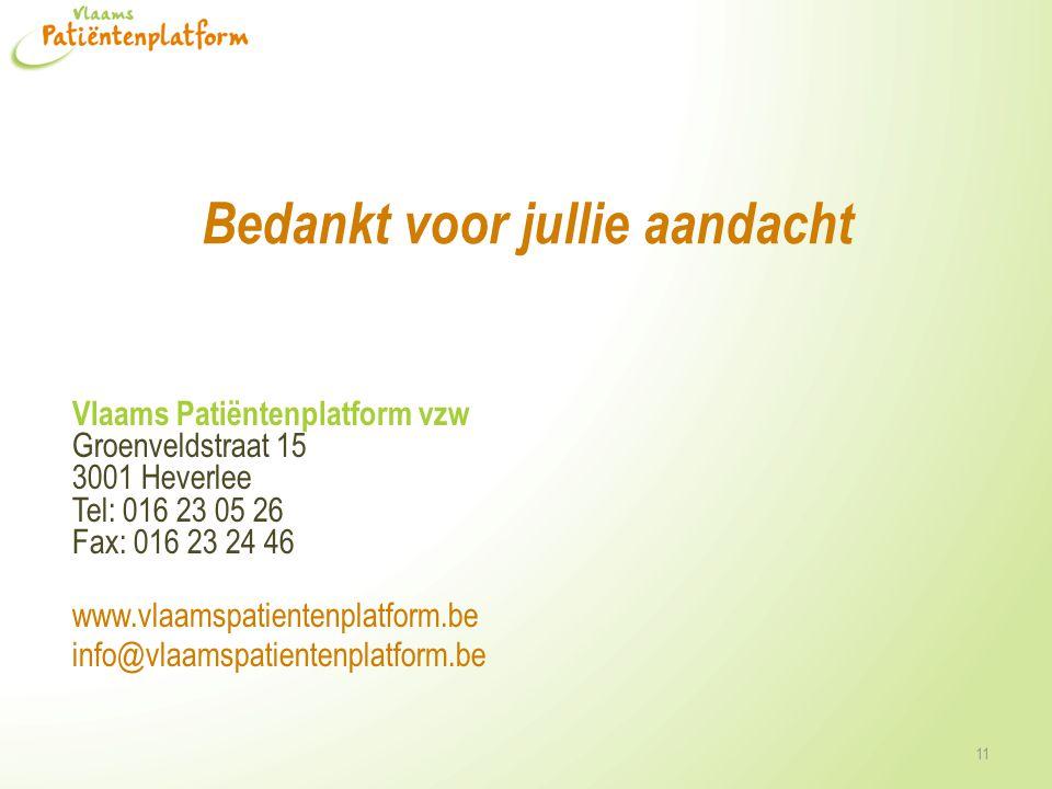 Bedankt voor jullie aandacht Vlaams Patiëntenplatform vzw Groenveldstraat 15 3001 Heverlee Tel: 016 23 05 26 Fax: 016 23 24 46 www.vlaamspatientenplatform.be info@vlaamspatientenplatform.be 11