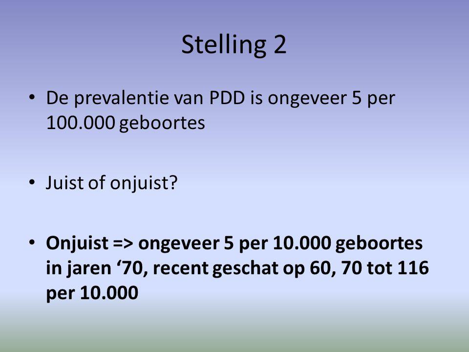 Stelling 2 De prevalentie van PDD is ongeveer 5 per 100.000 geboortes Juist of onjuist.