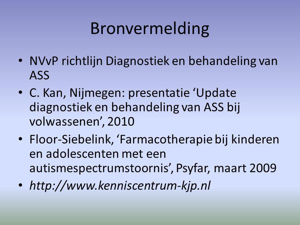 Bronvermelding NVvP richtlijn Diagnostiek en behandeling van ASS C.