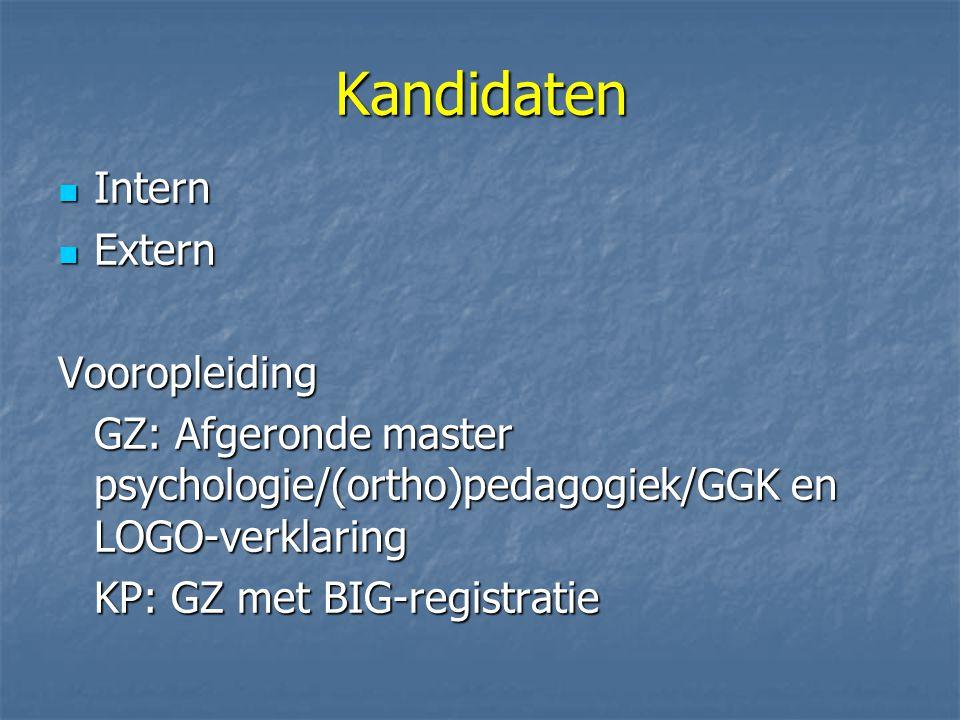 Kandidaten Intern Intern Extern ExternVooropleiding GZ: Afgeronde master psychologie/(ortho)pedagogiek/GGK en LOGO-verklaring KP: GZ met BIG-registratie