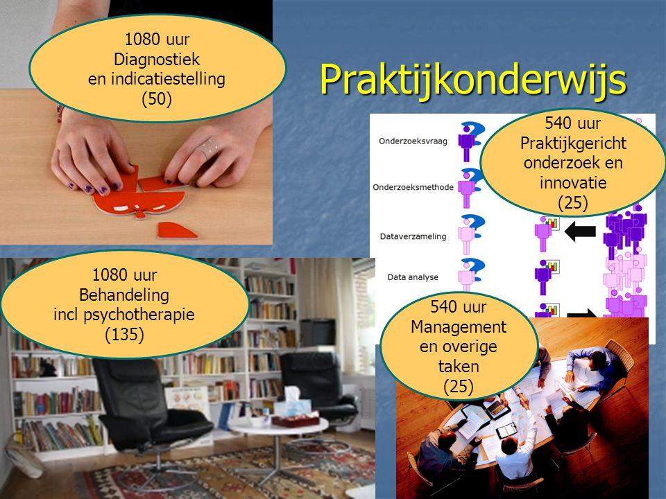Praktijkonderwijs 540 uur Praktijkgericht onderzoek en innovatie (25) 1080 uur Diagnostiek en indicatiestelling (50) 540 uur Management en overige taken (25) 1080 uur Behandeling incl psychotherapie (135)