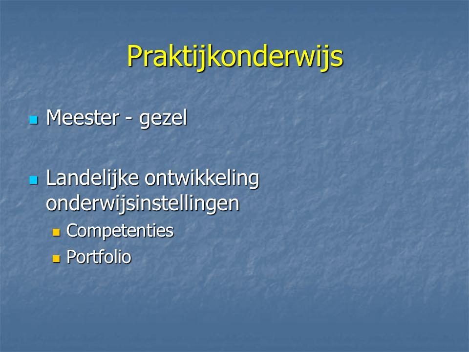 Praktijkonderwijs Meester - gezel Meester - gezel Landelijke ontwikkeling onderwijsinstellingen Landelijke ontwikkeling onderwijsinstellingen Competenties Competenties Portfolio Portfolio