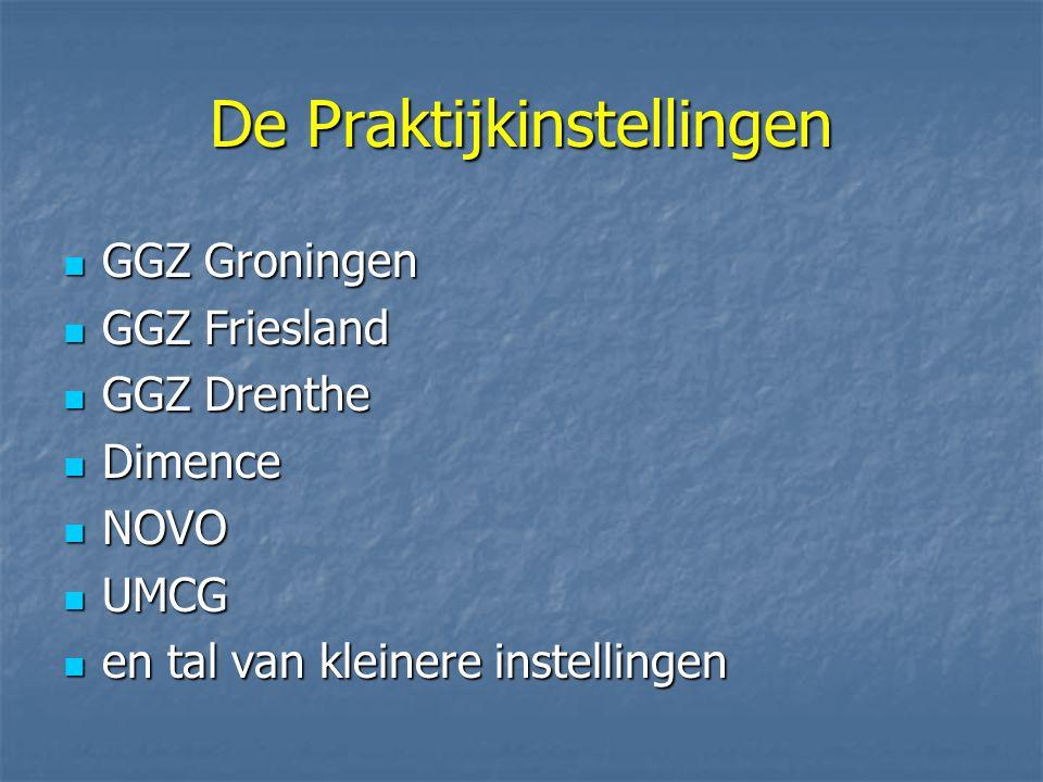 De Praktijkinstellingen GGZ Groningen GGZ Groningen GGZ Friesland GGZ Friesland GGZ Drenthe GGZ Drenthe Dimence Dimence NOVO NOVO UMCG UMCG en tal van kleinere instellingen en tal van kleinere instellingen