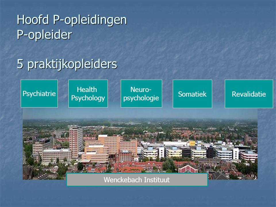 Hoofd P-opleidingen P-opleider 5 praktijkopleiders Psychiatrie Health Psychology Neuro- psychologie SomatiekRevalidatie Wenckebach Instituut