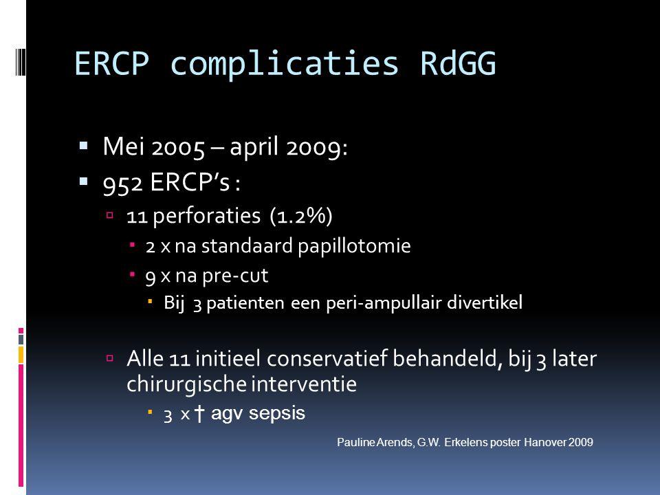 ERCP complicaties RdGG  Mei 2005 – april 2009:  952 ERCP's :  11 perforaties (1.2%)  2 x na standaard papillotomie  9 x na pre-cut  Bij 3 patien