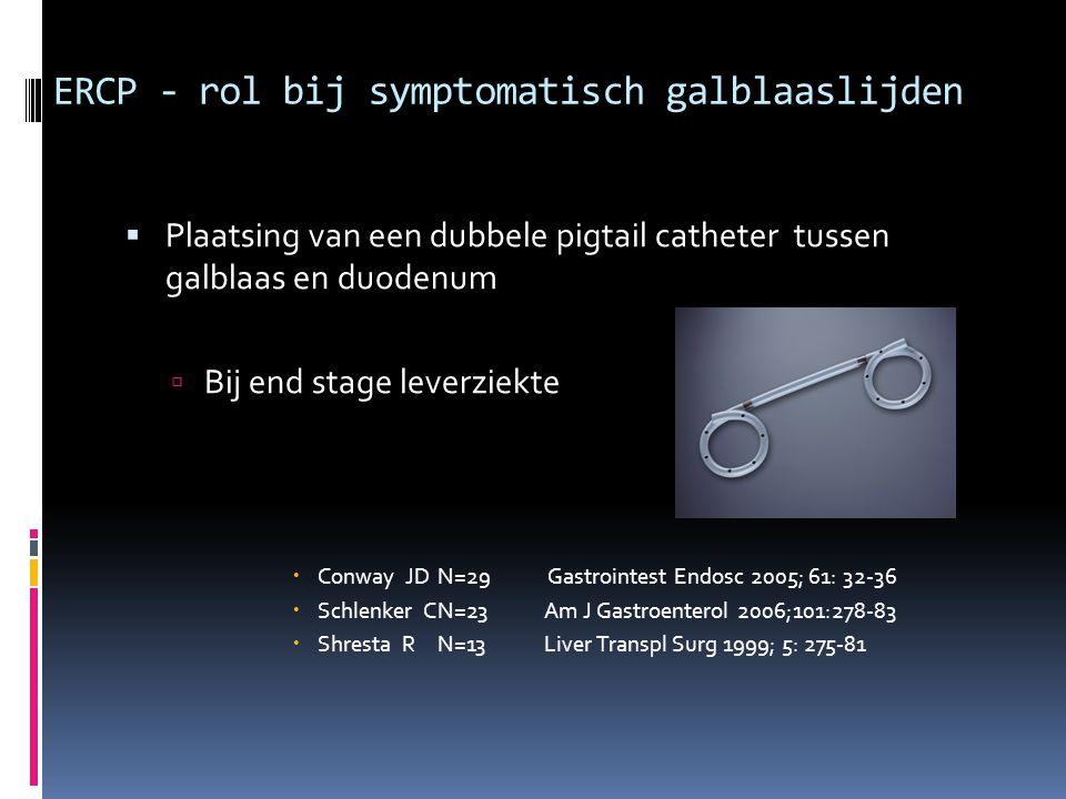 ERCP - rol bij symptomatisch galblaaslijden  Plaatsing van een dubbele pigtail catheter tussen galblaas en duodenum  Bij end stage leverziekte  Con