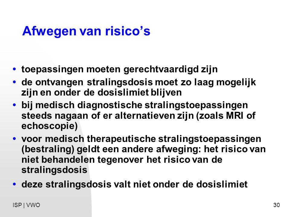 30 Afwegen van risico's toepassingen moeten gerechtvaardigd zijn de ontvangen stralingsdosis moet zo laag mogelijk zijn en onder de dosislimiet blijven bij medisch diagnostische stralingstoepassingen steeds nagaan of er alternatieven zijn (zoals MRI of echoscopie) voor medisch therapeutische stralingstoepassingen (bestraling) geldt een andere afweging: het risico van niet behandelen tegenover het risico van de stralingsdosis deze stralingsdosis valt niet onder de dosislimiet ISP | VWO