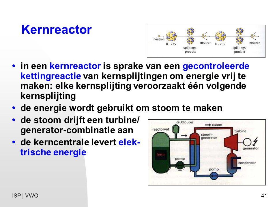 41 Kernreactor in een kernreactor is sprake van een gecontroleerde kettingreactie van kernsplijtingen om energie vrij te maken: elke kernsplijting veroorzaakt één volgende kernsplijting de energie wordt gebruikt om stoom te maken de stoom drijft een turbine/ generator-combinatie aan de kerncentrale levert elek- trische energie ISP | VWO