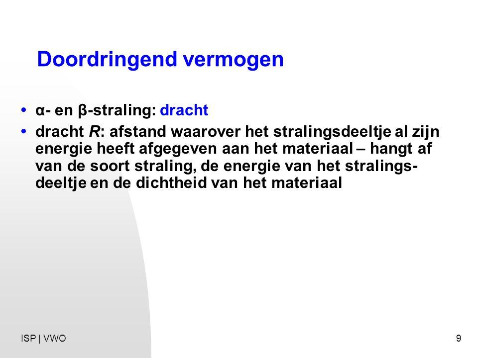 9 Doordringend vermogen α- en β-straling: dracht dracht R: afstand waarover het stralingsdeeltje al zijn energie heeft afgegeven aan het materiaal – hangt af van de soort straling, de energie van het stralings- deeltje en de dichtheid van het materiaal ISP | VWO