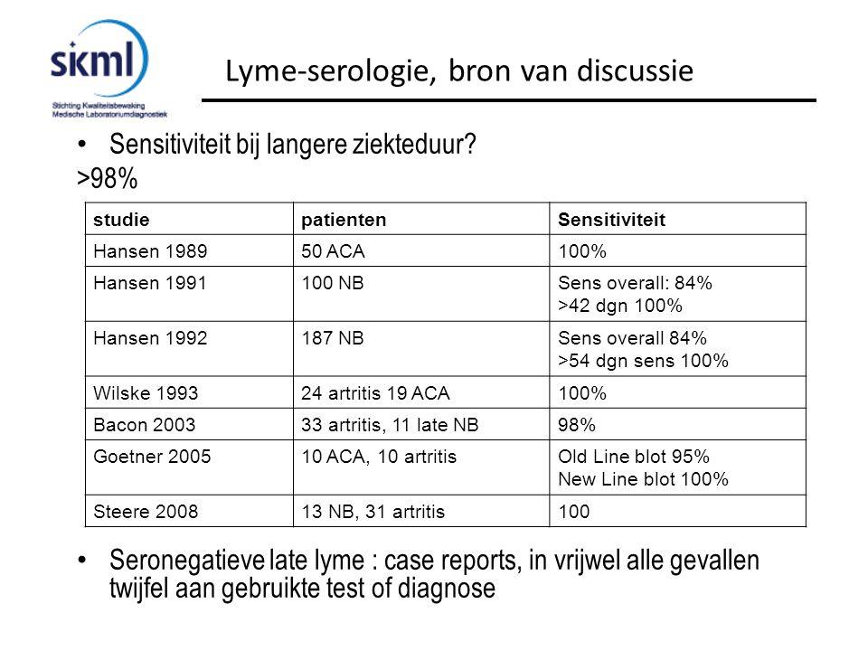 Sensitiviteit bij langere ziekteduur? >98% Seronegatieve late lyme : case reports, in vrijwel alle gevallen twijfel aan gebruikte test of diagnose Lym