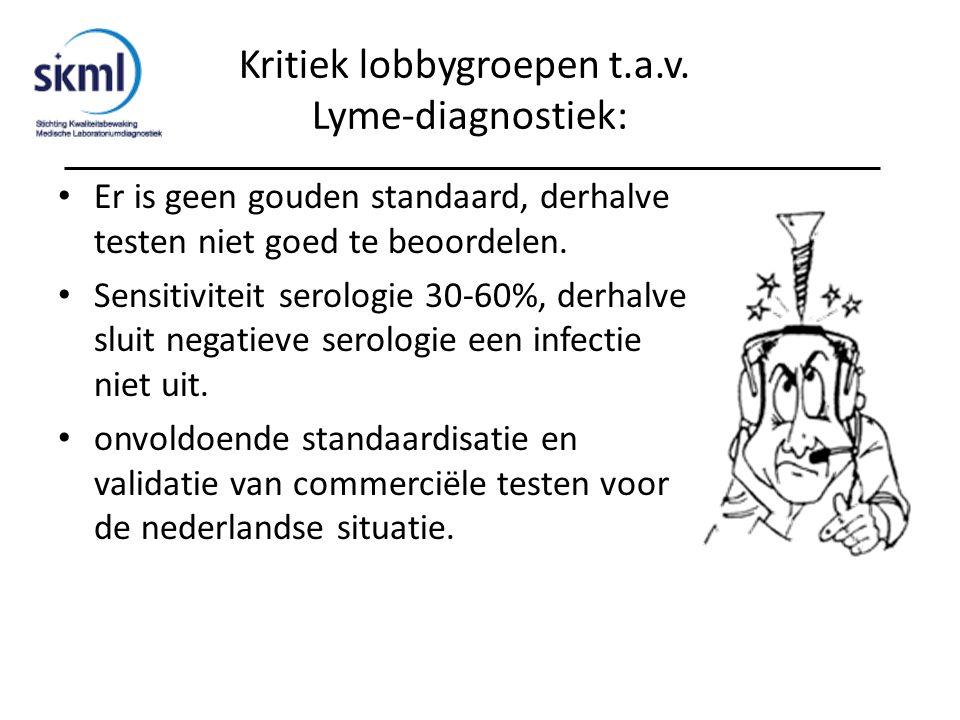 Kritiek lobbygroepen t.a.v. Lyme-diagnostiek: Er is geen gouden standaard, derhalve testen niet goed te beoordelen. Sensitiviteit serologie 30-60%, de