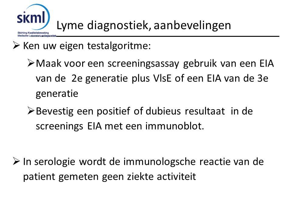 Lyme diagnostiek, aanbevelingen  Ken uw eigen testalgoritme:  Maak voor een screeningsassay gebruik van een EIA van de 2e generatie plus VlsE of een