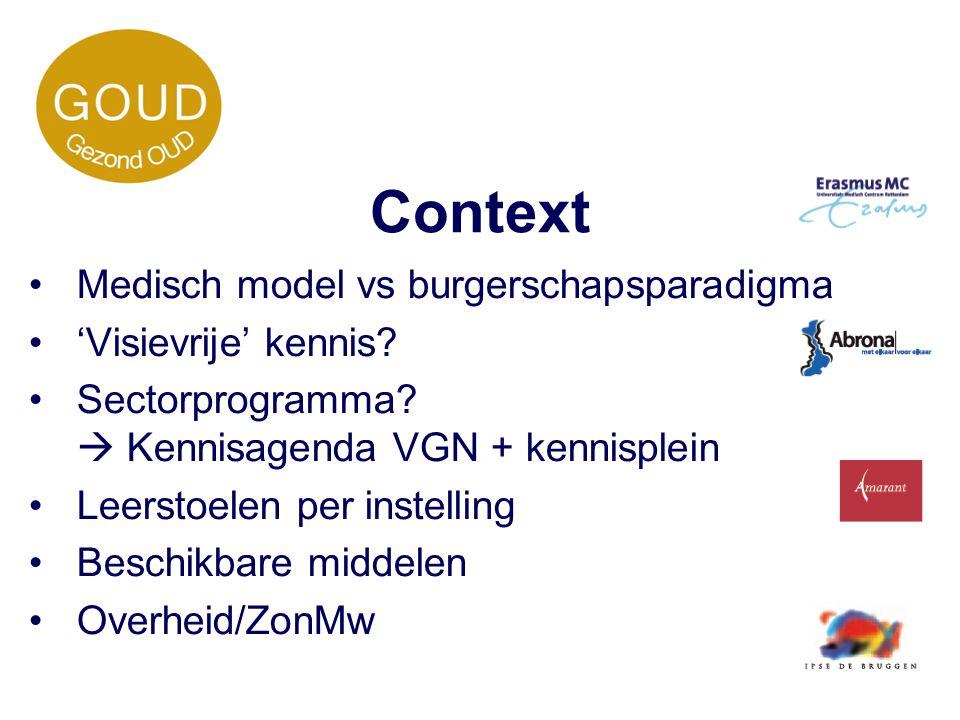 Context Medisch model vs burgerschapsparadigma 'Visievrije' kennis? Sectorprogramma?  Kennisagenda VGN + kennisplein Leerstoelen per instelling Besch
