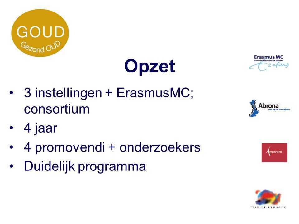 Opzet 3 instellingen + ErasmusMC; consortium 4 jaar 4 promovendi + onderzoekers Duidelijk programma