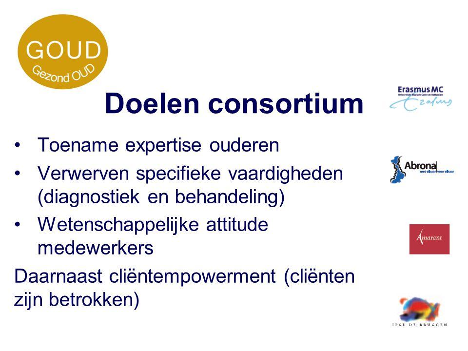 Doelen consortium Toename expertise ouderen Verwerven specifieke vaardigheden (diagnostiek en behandeling) Wetenschappelijke attitude medewerkers Daar