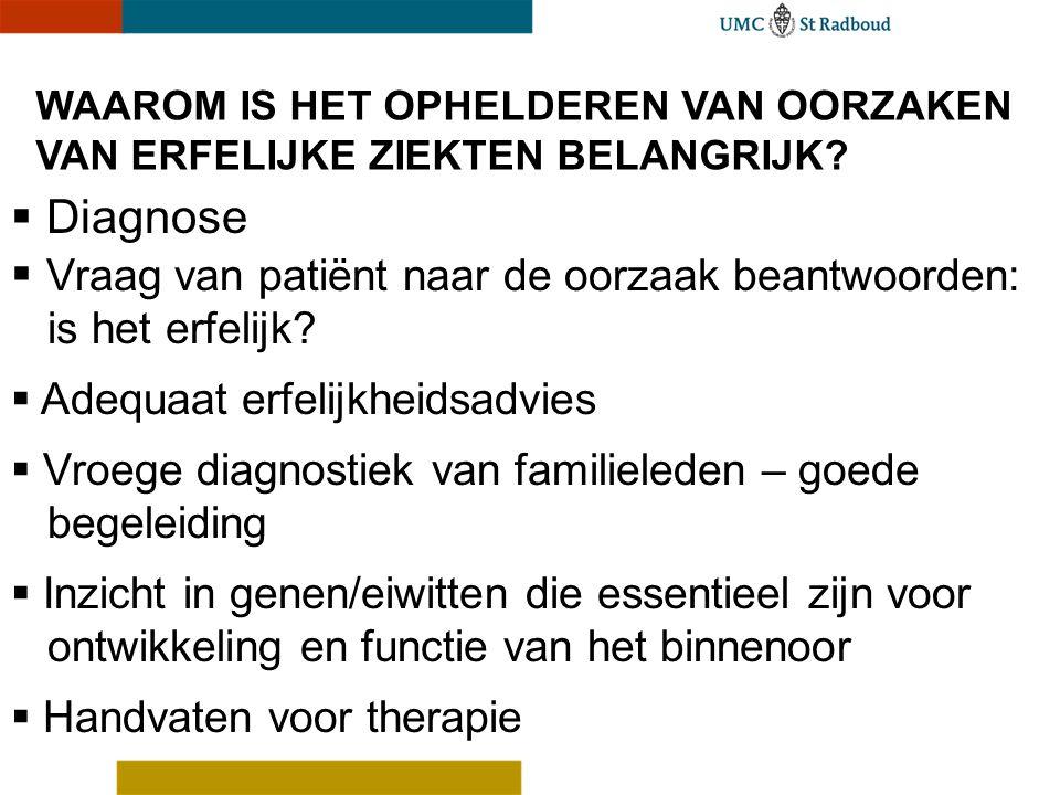 WAAROM IS HET OPHELDEREN VAN OORZAKEN VAN ERFELIJKE ZIEKTEN BELANGRIJK?  Diagnose  Vraag van patiënt naar de oorzaak beantwoorden: is het erfelijk?