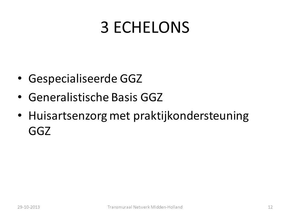 3 ECHELONS 29-10-2013Transmuraal Netwerk Midden-Holland12 Gespecialiseerde GGZ Generalistische Basis GGZ Huisartsenzorg met praktijkondersteuning GGZ