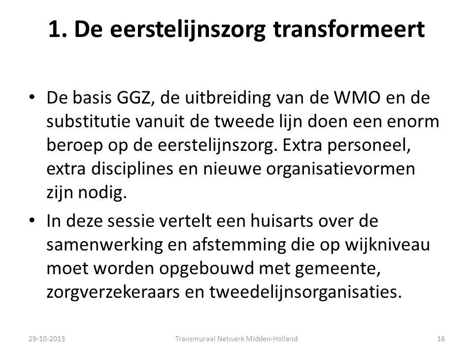 1. De eerstelijnszorg transformeert De basis GGZ, de uitbreiding van de WMO en de substitutie vanuit de tweede lijn doen een enorm beroep op de eerste