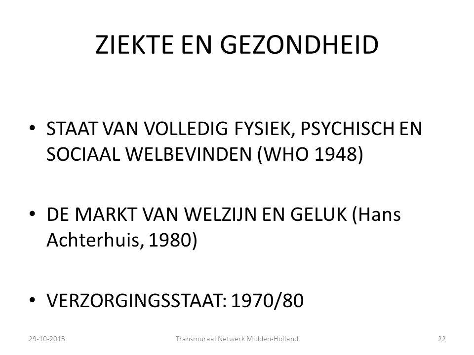 ZIEKTE EN GEZONDHEID STAAT VAN VOLLEDIG FYSIEK, PSYCHISCH EN SOCIAAL WELBEVINDEN (WHO 1948) DE MARKT VAN WELZIJN EN GELUK (Hans Achterhuis, 1980) VERZ