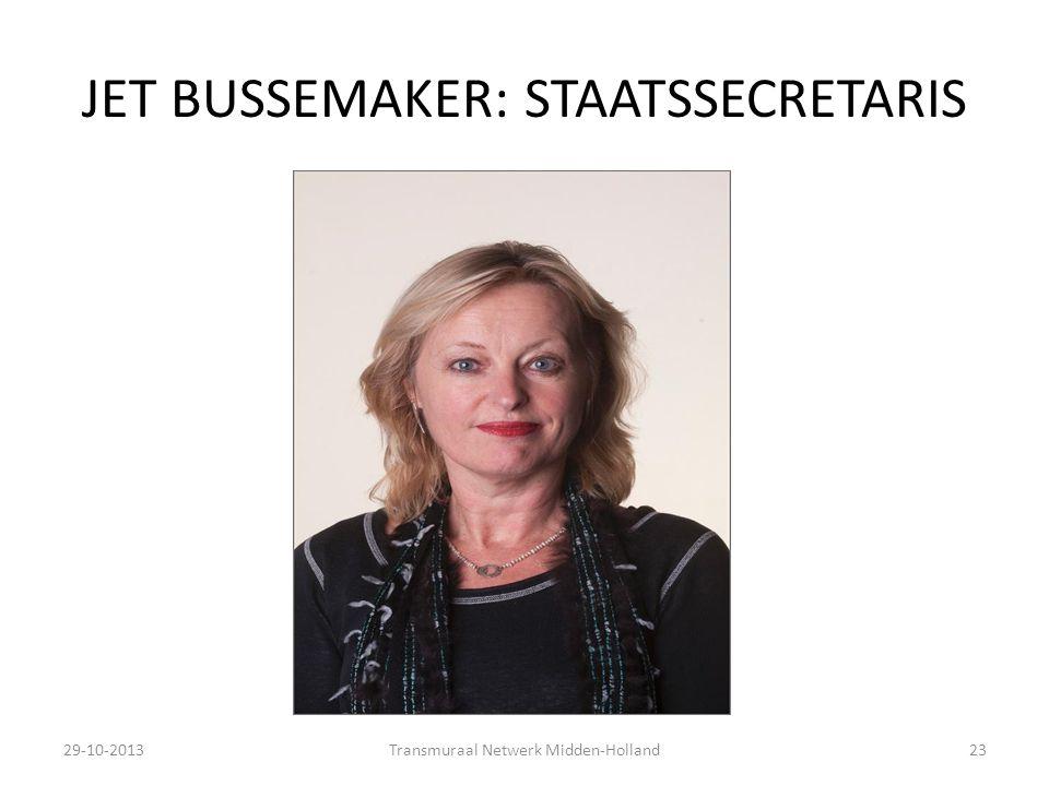 JET BUSSEMAKER: STAATSSECRETARIS 29-10-2013Transmuraal Netwerk Midden-Holland23