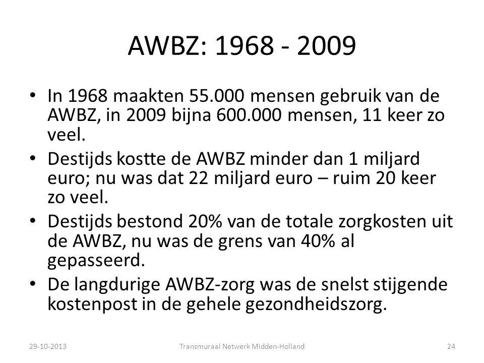 AWBZ: 1968 - 2009 In 1968 maakten 55.000 mensen gebruik van de AWBZ, in 2009 bijna 600.000 mensen, 11 keer zo veel. Destijds kostte de AWBZ minder dan