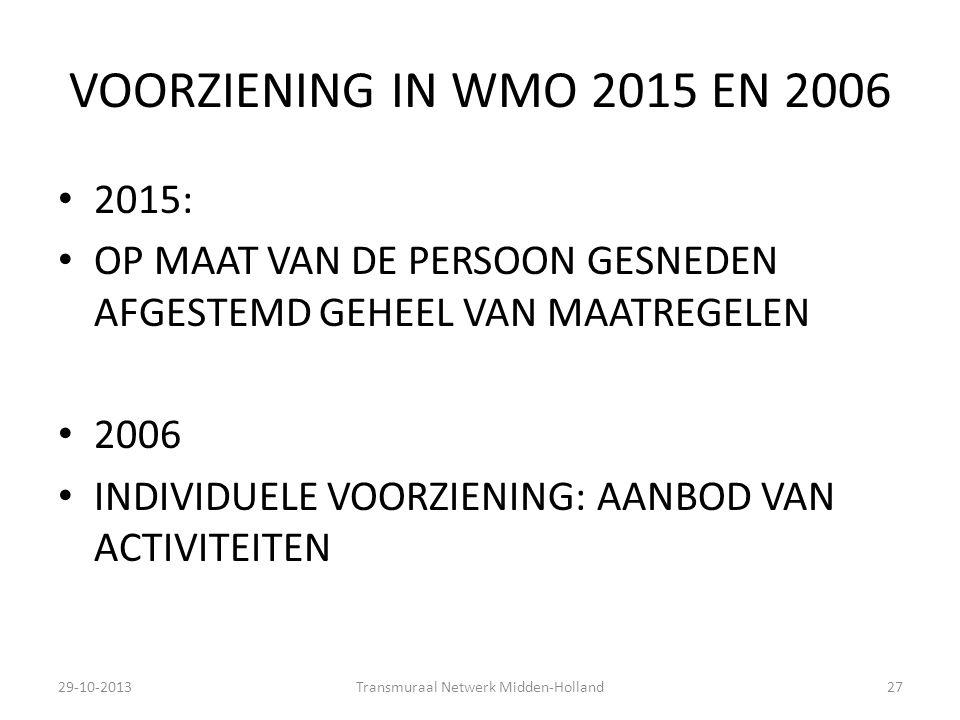 VOORZIENING IN WMO 2015 EN 2006 2015: OP MAAT VAN DE PERSOON GESNEDEN AFGESTEMD GEHEEL VAN MAATREGELEN 2006 INDIVIDUELE VOORZIENING: AANBOD VAN ACTIVI